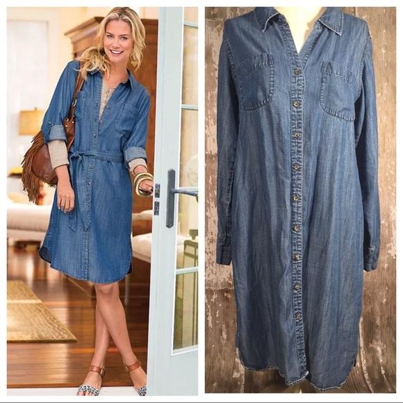 a few days away coupon code clearance sale SOFT SURROUNDINGS Denim Shirt Dress Chambray M